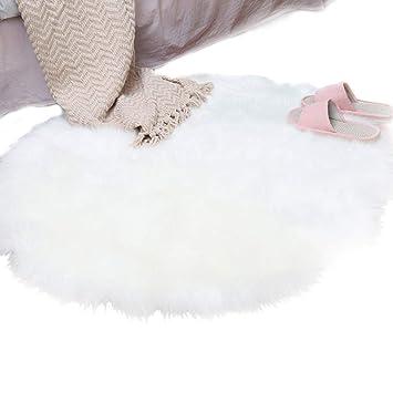 SODIAL Alfombra de Lana de Piel Sintetica de Oveja Alfombra 30 x 30 cm Es Alfombra de cojin Silla Decorativo Pelo Largo Suave Mullido (Redondo Blanco)