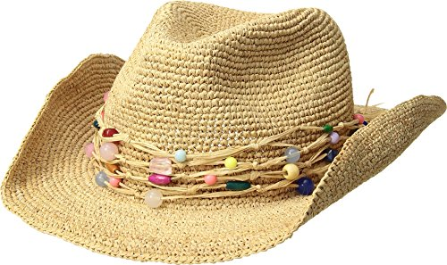 Hat Attack Women's Raffia Crochet Cowgirl w/Multi Stone Trim Natural/Multi One Size by Hat Attack