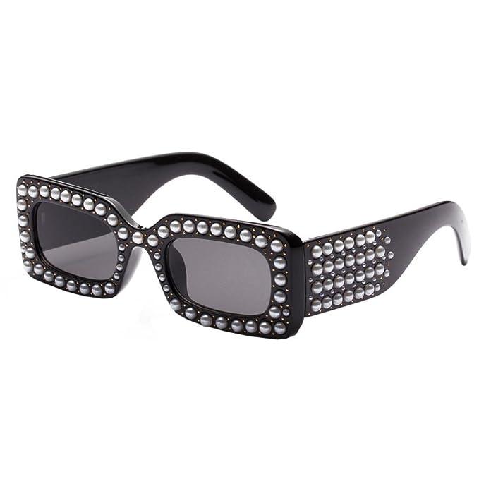 03c434422c Fat.chot Sunglasses for Women Rectangular Thick Frame Pearl Decoration  Integrated UV Vintage Square Eyewear Fashion Causal UV400 (A)  Amazon.co.uk   Clothing