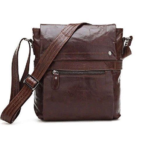 2016Cool oficina Hombres Vintage de piel auténtica de café bolso bandolera Messenger Bag macho bolsos