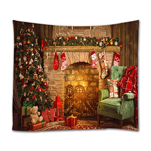 Goodbath Christmas Tapestry, Xmas Merry Christams Tree Brick Fireplace Stockings Wall Hangings Tapestries for Bed Room Living Room Dorm, 80 x 60 Inch, Colorful ()