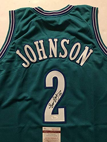 - Autographed/Signed Larry Johnson Charlotte Teal Basketball Jersey JSA COA