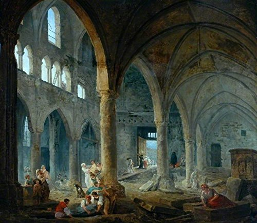 Cutler Miles The Dismantling Of The Church Of The Holy Innocents, Paris, 1785 by Hubert Robert Hand Painted Oil on Canvas Reproduction Wall Art. 30x24 by Cutler Miles
