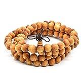 Rel Goods Unisex Natural Arborvitae Beads Necklace Mala Thuja Sutchuenensis Wood Prayer Bead Tibetan Buddhism Special Wristband Bracelet (10mmx108)