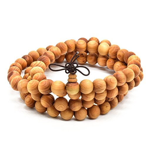 Rel Goods Unisex Natural Arborvitae Beads Necklace Mala Thuja Sutchuenensis Wood Prayer Bead Tibetan Buddhism Special Wristband Bracelet - Shopping Spokane