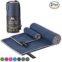 Microfiber Sports Travel Towel Set by Arnuwa - Quick Dry Ultra Absorbent Compact Antibacterial - Great for Camping, Yoga, Swimming, Backpacking, Beach, Gym & Bath