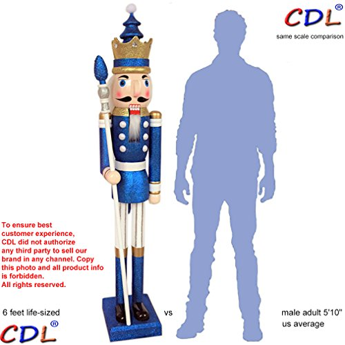 CDL 6ft tall life-size large/giant blue glitter Christmas wooden nutcracker king ornament on stand holds golden scepter for indoor outdoor Xmas/event/wedding party decoration (6 feet, king blue k33)