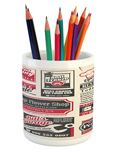 Cheap  Retro Pencil Pen Holder by Ambesonne, Retro Newspaper Magazine Design Outdated Layout..