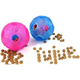 YujueShop Interactive Dog Chew Toys, IQ Treat Food Dispensing Ball for Small Medium Dogs Cats Puppy Kitty, Durable Resistant Nontoxic Rubber Toys (Red+Blue)