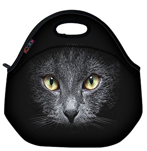 ICOLOR Black Cat Soft Insulated Lunch box Food Bag Neoprene Gourmet Handbag lunchbox Cooler warm Pouch Tote bag For School work LB-082