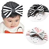 gem bows - DANMY Big Bow Sparkle Gem Baby Girl Hat Newborn Knitting hat Set Head (pink and gray(as shown))