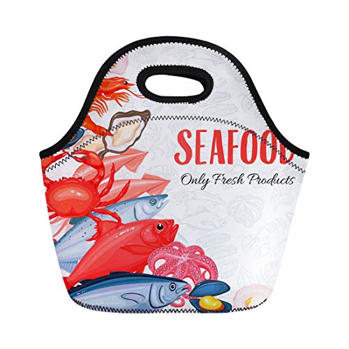 Semtomn Lunch Bags Seafood Mussel Fish Salmon Shrimp Squid Octopus Scallop Lobster Neoprene Lunch Bag Lunchbox Tote Bag Portable Picnic Bag Cooler Bag