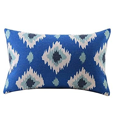 Embrace Cotton Linen Decorative Throw Pillow Case Cushion Cover Blue Retro Floral Rectangle 12  * 20