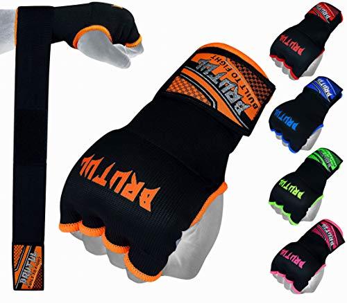 Brutul Padded Inner Gel Gloves Training Gel Elastic Hand Wraps for Boxing Gloves Quick Wraps Men & Women Kickboxing Muay Thai MMA Bandages Wrist Wrap Protector Handwraps (Pair) (Orange, XL)