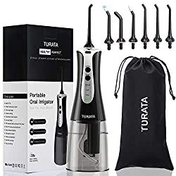 TURATA Portable&Rechargeable Water Flosser Cordless Oral Irrigator, 3 Flossing Modes with 6 Multifunctional Tips For Braces & Implants, 300ml