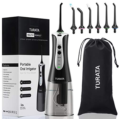 TURATA Portable Rechargeable Water Flosser Cordless Oral Irrigator, 3 Flossing Modes with 6 Multifunctional Tips For Braces Implants, 300ml