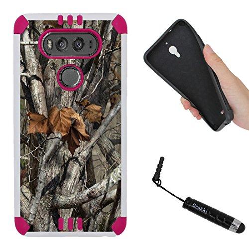 LG V20 Case, PINK Hybrid 2-Layer Shock Proof Rugged Armor Hard Cover Case by URAKKI for LG V20 (2016) [Tree Bark Camo] Case