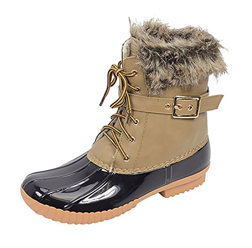 Zip Up Boot Lace Stitching Waterproof Nature Taupe Duck 01 Side 02 Women Insulated Breeze wxYqZ8