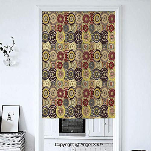 AngelDOU Hippie Doorway Kitchen Cafe Half Tube Curtain Vintage Pattern with Vivid Colorful Painted Circles and Dots Ethnic Seventies Style Decorative for Home Party Decoration. 33.5x47.2 inches