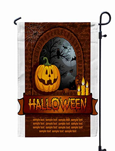 Really Scary Halloween Backgrounds (GROOTEY Fall Garden Flag,Home Yard Decorative 12X18 Inches Scary Halloween Background Tree Moon Double Sided Seasonal Garden Flags Halloween Thanksgiving Garden Flag,Turquoise)