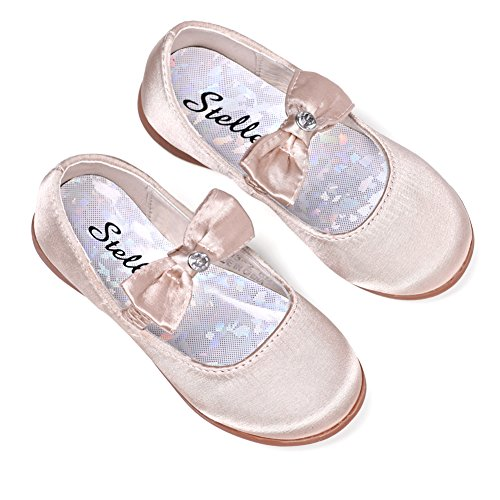 - STELLE Girls Mary Jane Shoes Slip-on Party Dress Flat for Kids Toddler (10MT, Gold(Satin))