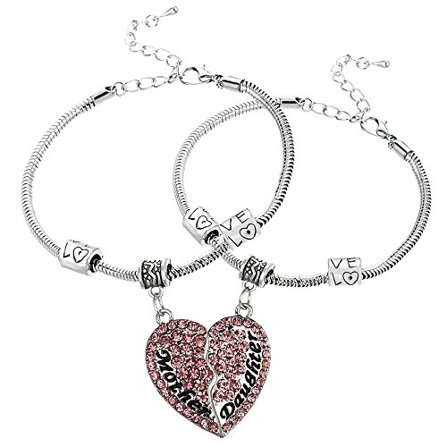 Heart Pendant Bracelet Set for Mother and Daughter - Family Jewelry Gift - Pink