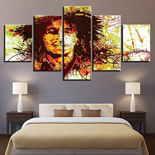 (kkxdp Framed 5 Pieces Modern Canvas Poster for Living Room Home Decor Bob Marley Paintings Modular Music Abstract Pictures Wall Art Bedroom-B)