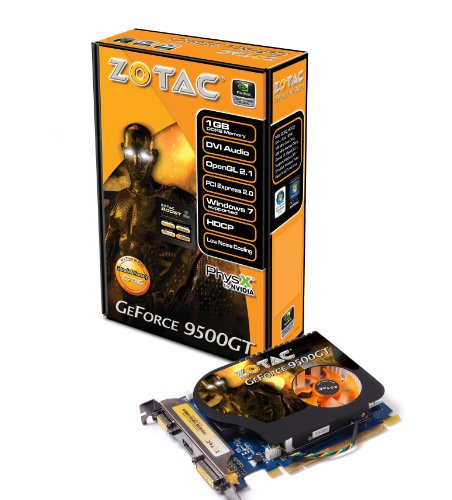 ZOTAC GeForce 9500GT 1GB PCI Express DDR2 VGA/DVI/HDMI  Graphics Card, ZT-95TEK2M-FSL -