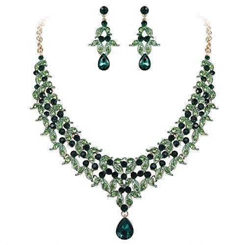 Emerald Leaf Stone - BriLove Wedding Bridal Necklace Earrings Jewelry Set for Women Cluster Leaf Teardrop Statement Necklace Dangle Earrings Set Emerald Color Gold-Toned