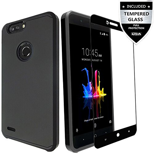 Shield Black Protector Case Rubberized (ZTE Blade Z MAX Case, ZTE Sequoia Case With [Full Edged Tempered Glass Screen Protector],IDEA LINE(TM) Heavy Duty Protection Hybrid Hard Shockproof Slim Fit Cover - Black)