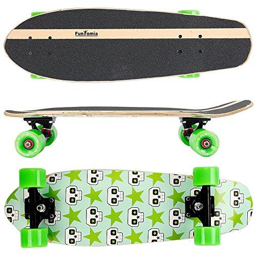 FunTomia Midi-Board Cruiser Skateboard 65cm aus 7-lagigem kanadischem Ahornholz / oder 5-lagen kanadischem Ahornholz und 2-lagen Bambusholz inkl. ABEC-11 MACH1 Kugellager - mit oder ohne LED Rollen (Stern Totenkopf / mit grünen Rollen (ohne LED) / aus Ahornholz)