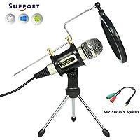 [Patrocinado] g-touker micrófonos de condensador para computadora, Plateado