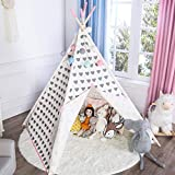 Asweets Teepee Tent for Girls, Princess Canvas Kids Play Tent for Indoor Decor with Carry Case, Grey Heart with Pink Edge