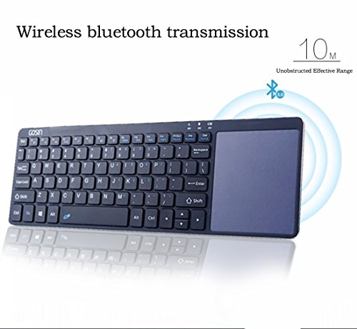 Gosin Wireless Keyboard, Ultrathin All in One Metal Bluetooth Keyboard Touchpad for mobile and tablet with Windows and Android,Touchpad do not work with Smart TV & Home Theater & IOS (Black) by Gosin (Image #5)