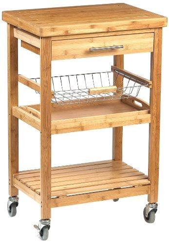 Dm Creation 00014 Desserte Florence Table Roulante Bambou Inox Naturel 58 X 40 X 91 Cm