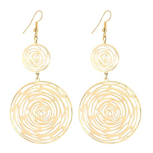 IDB Productions IDB Delicate Filigree Dangle Double Circle Swirl Drop Hook Earrings - available in silver and gold tones (Gold tone) - Gold Filigree Circle Earrings