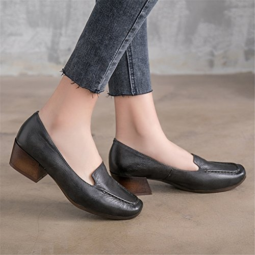Women's New Size for Heel B Color Ladies Leather Career Office 37 Block Shoes Head 2018 Dress amp; Shoes Square TrrFwtqC