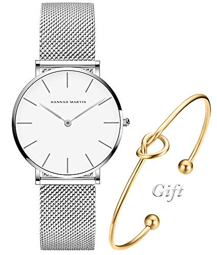 Women's Silver Watch Analog Quartz Stainless Steel Mesh Band Casual Fashion Ladies Wrist Watches with Love Knot Bracelet Gift