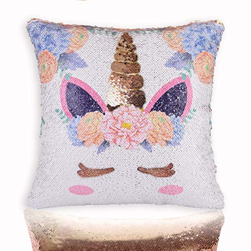 """Unicorn Mermaid Scale Sequins Pillow Case Personalized Reversible Throw Cushion Cover Decor for Christmas, Birthday Party, Gold Pillowcase, 16""""x16"""" from bohrpeter"""