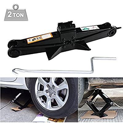2 Tonne Scissor Jack Black with Crank Speed Handle Compact Portable Garage Tools - 90-360mm Lift Range for Ford BMW Toyota Nissan Chevrolet Honda