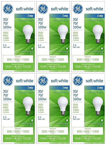 GE Lighting 97493 30-Watt - 70-Watt - 100-Watt A21 3-Way, Soft White, 6-Pack