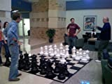 outdoor chess table MegaChess Giant Premium Chess Set with 25 Inch Tall King and Giant Chess Mat - Black and White