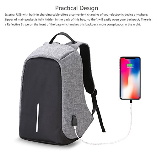 HaloVa Travel Backpack, Anti-theft Laptop Backpack with USB Charging Port, Large Capacity Waterproof School Bag for College Student Work Men & Women, Light Weight and Luminous, Gray