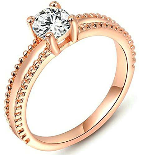 [AmDxD Jewelry Gold Plated Women Engagement Rings Rose Gold Bilateral Single Drills Size 7] (Gay Star Wars Costume)