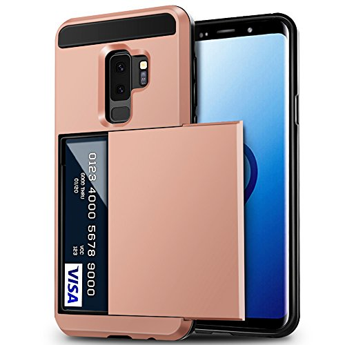 Galaxy S9 Plus Case, Anuck Shockproof Galaxy S9 Plus Wallet Case Card Pocket Anti-scratch Hard Shell Soft Rubber Bumper Protective Cover with Card Holder Slot for Samsung Galaxy S9 Plus - Rose Gold