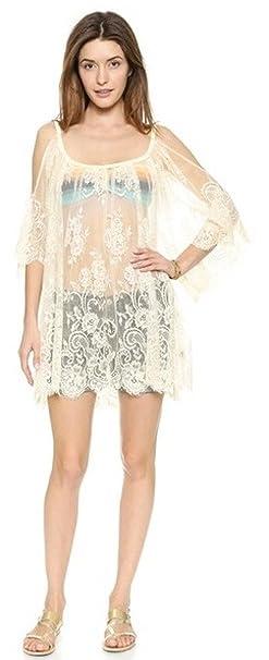 Aimerfeel Encaje de Ganchillo Bordado Floral Mini Vestido de Las Mujeres Cubre la Falda Bralet Chaleco