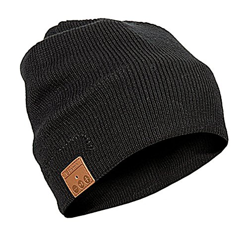 TSOCO Bluetooth Beanie Bluetooth Hat,Wireless Musical Headphones, Knitting Hat with Removable Bluetooth V4.2 Stereo Bluetooth Headphones,Unisex Cap for Winter (Black)