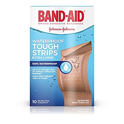 Band-Aid Brand Tough-Strips Waterproof Adhesive Bandages, Durable Protection For Minor Cuts And Scrapes, Extra Large, 10 Count