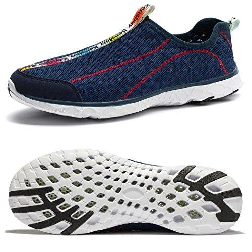 WOTTE Männer Mesh schnell trocknend Aqua Slip auf Wasser Schuhe atmungsaktive Wanderschuhe Dunkelblau