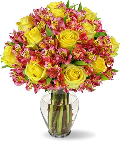 Benchmark Bouquets Exquisite Roses and Alstroemeria, With Vase